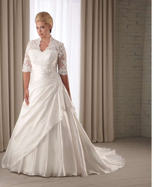 Short-Sleeves-Plus-Size-Wedding-Dresses
