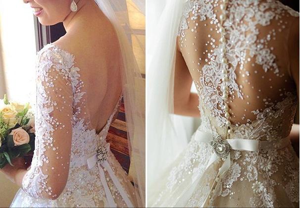 Veluz Reyez vestido de noiva detalhe nas costas