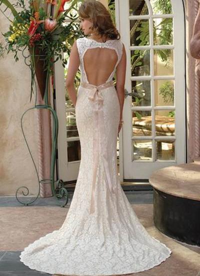 vestido de noiva renda e decote