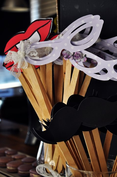 ideias para casamento mascaras e bocas e bigodes