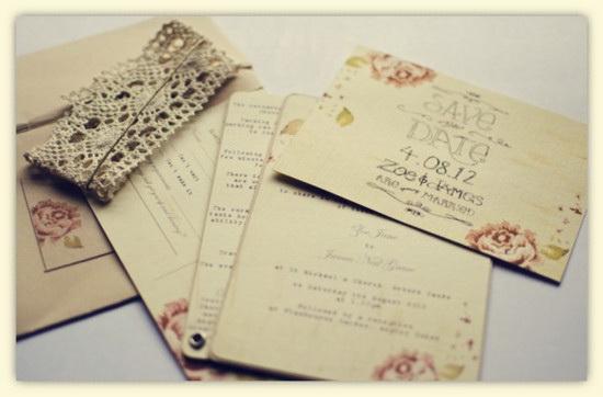 convite de casamento informal  Rustic-Pink-Rose-Wedding-