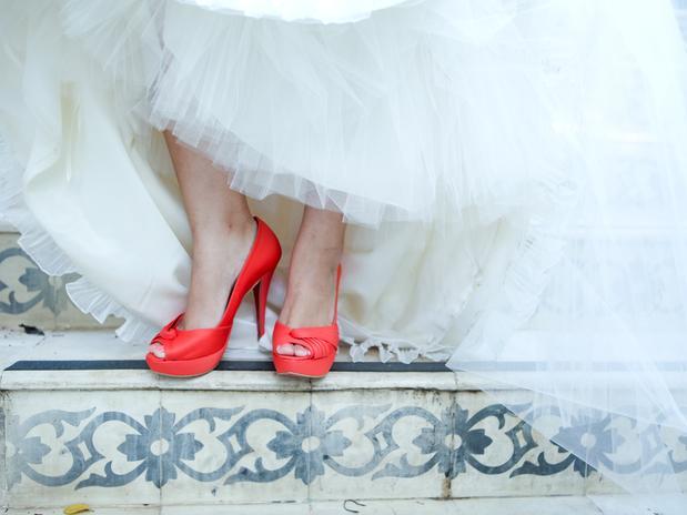 ideias para casamento sapato vermelho