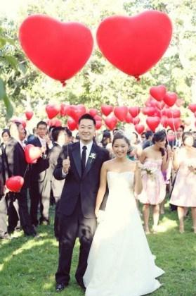 ideias para casamento balões coração